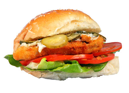 Sandwich with meat, tomato, cucumber, lettuce
