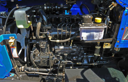 new black tractor engine in close-up, detail Standard-Bild