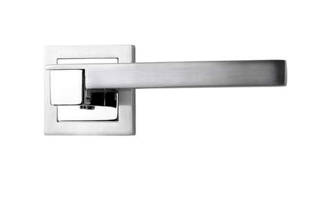 modern silver door handles on a white background in close-up