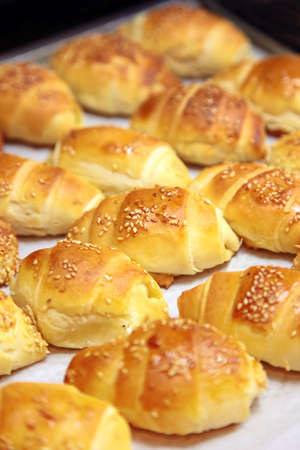 Baked rolls bread with cheese on a white background