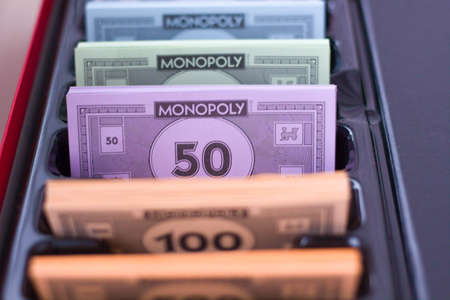Le monopole de l'argent fictif. coupures de 500, 50 Banque d'images