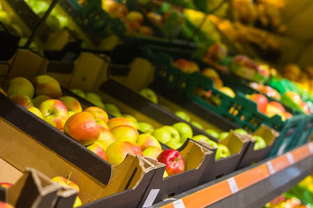 Fruit shop.Apples on the shelves