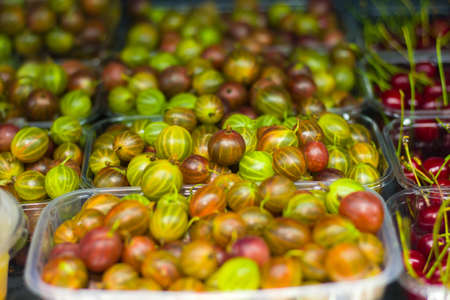 Fruit shop. Ripe Gooseberry Close Up