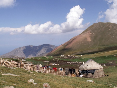 rock wool: kyrgyz nomads tent on the mountain slope in Tien-Shan