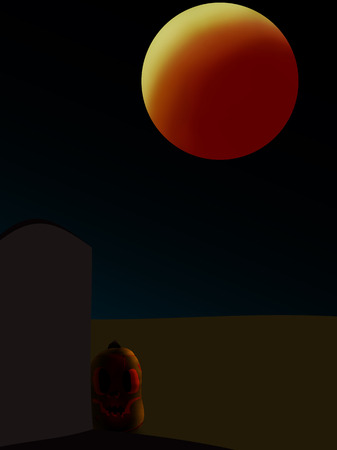 night cemetery and pumpkin under the red moon