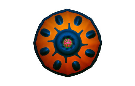 Hero Shield. Victorious. Illustration. 3d rendering. round form. Stock Photo