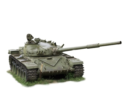 battle tank: The military tank left soldiers-is isolated on the white