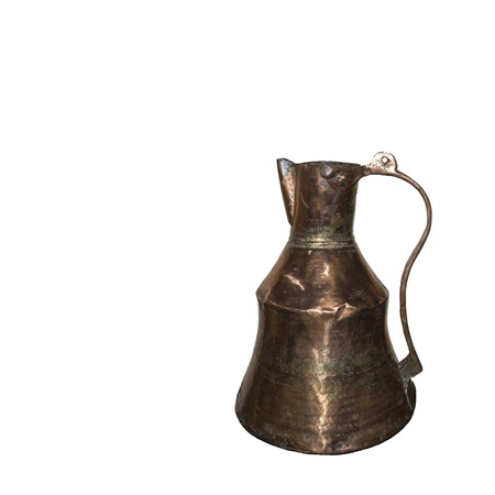 Copper jug of 19 centuries-is isolated on the white Stock Photo