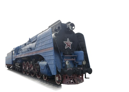 The blue express steam locomotive which is accelerating momentum 125 km hour-is isolated on the white Stock Photo - 15939217