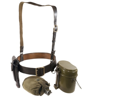 Officer sword belt, kettle and flask-is isolated on the white