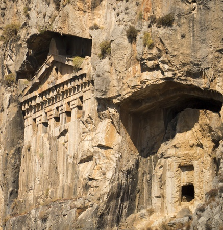 Likijsky tombs on the river Daljan, Turkey Stock Photo - 15939269