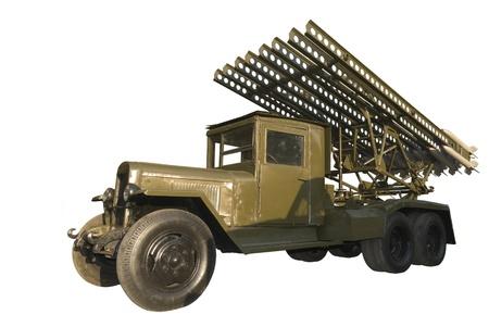 ballistic missile: Jet mortar Katyusha-is isolated on the white Stock Photo