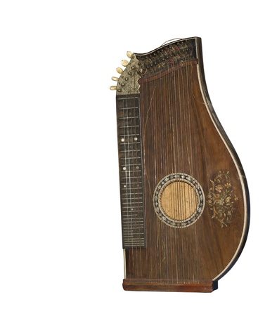 Zither-traditional a German musical instrument  The beginning of 19 centuries Is isolated on the white