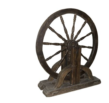 flywheel: The fly-wheel of a turning lathe 17 centuries -Is isolated on the white