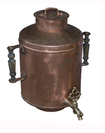 Tank for water with medals, 19 centuries-is isolated on the white