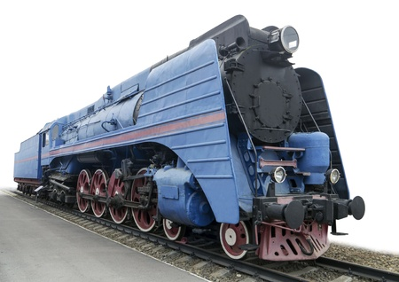 The blue express steam locomotive which is accelerating momentum 125 km hour Stock Photo - 16724739