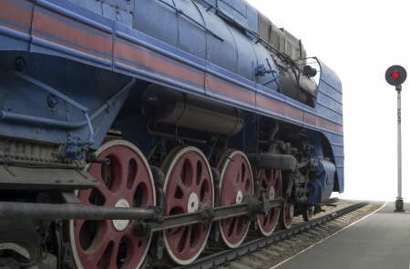 The blue express steam locomotive which is accelerating momentum 125 km/hour Stock Photo - 16724740