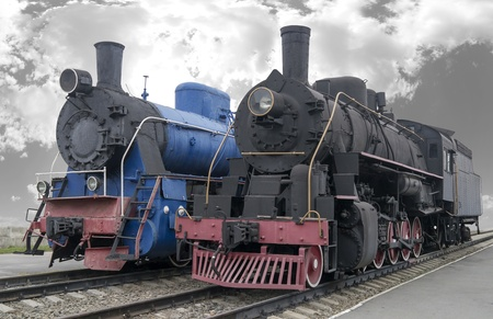 Old men-steam locomotives Stock Photo - 17010279