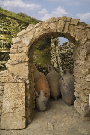 Amphoras at an input in the Greek dwelling, 3 century AD Stock Photo - 17316230