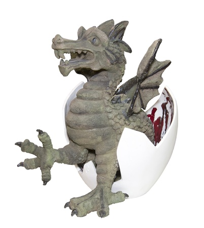 child's play clay: Clay dragon-is isolated on the white