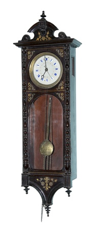 12 o'clock: Ancient wall clock-is isolated on the white