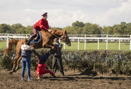 ROSTOV-ON-DON, RUSSIA-SEPTEMBER 22 - The horseman on a horse jumping over a man in Rostov-on-Don on September 22, 2013 in Rostov-on-Don