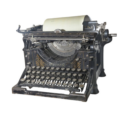 The typewriter of the beginning of 20 centuries- is isolated on the white Stock Photo