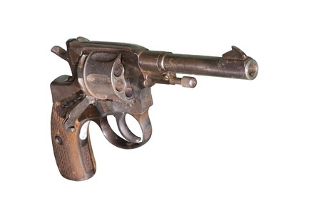 Pistol Nagant revolver circa 1941 - is isolated on the white