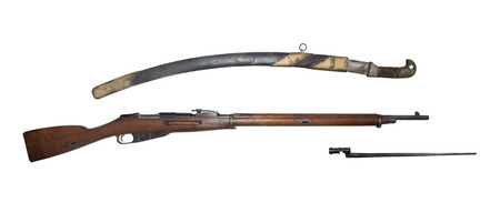 infantry: Infantry rifle and saber model 1891 - is isolated onthe white