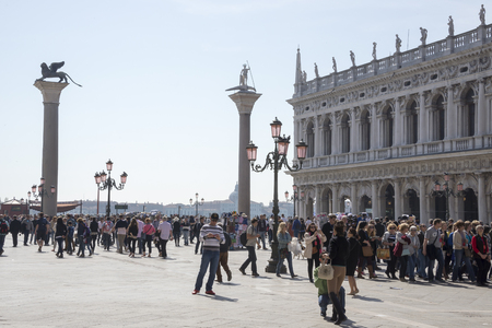 Venice, Italy, March 30, 2014:Tourists walk on the Piazza San Marco  Editorial