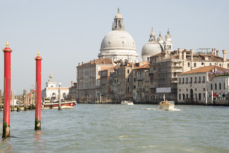 View of the Grand Canal with boats. Venice. Italy