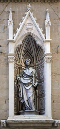 florence   italy: Statue of St. Stephen, the sculptor Ghiberti. Church  Or San Michele ,Florence,Italy