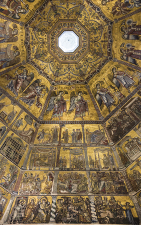 Ceiling painting of the Baptistery of San Giovanni. Florence. Italy