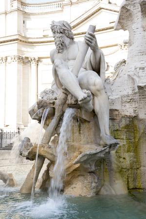 bernini: Fountain of the Four Rivers (architect Bernini) on Piazza Navona. Rome. Italy Stock Photo