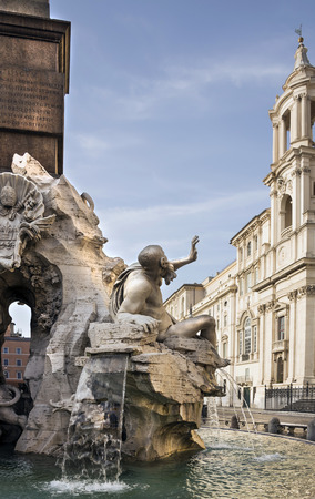 allegory painting: Fountain of the Four Rivers (architect Bernini) on Piazza Navona. Rome. Italy Stock Photo