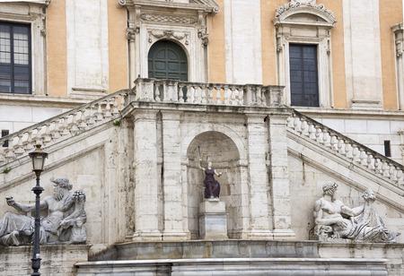 senators: Stairs Palace Senators, Michelangelo. Rome. Italy Stock Photo