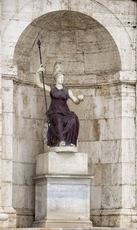 senators: Sculpture of the goddess Minerva - Jubilant Rome. Palace of the Senators. Rome, Italy Stock Photo