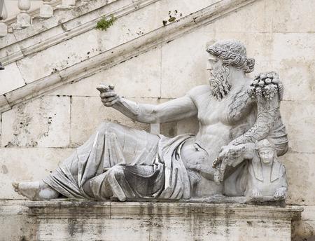 senators: Statue, symbolizing the River Nile. Senators Palace, Rome, Italy