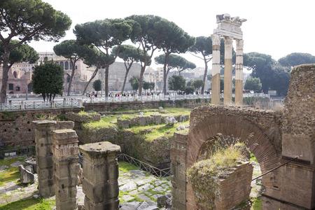 vida social: Roma, Italia-abril 02,2014: Los turistas que visitan el Foro Romano. Aqu� estaba la vida social de la ciudad.