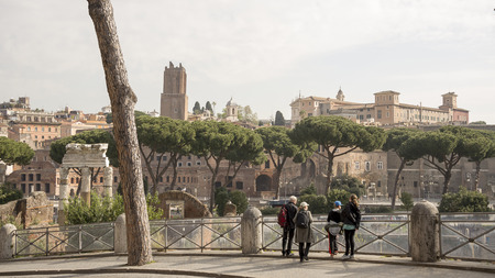 Rome,Italy-April 02,2014 Tourists visiting the forum of the Emperor Trajan