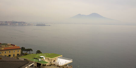 View of Mount Vesuvius from Naples. Italy