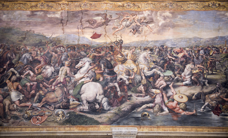 Vatican Museums .Italy - Raphaels Rooms - detail - C. Val. Avril. Costantini Imperator Victoria Qva Submerso Maxentius Cristianorvm Opes Firmatae Svnt - Battle of Constantine against Maxentius Editorial