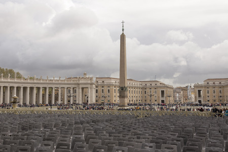 Vatican,Italy-April 04,2014:  Tourists visiting St. Peters Square