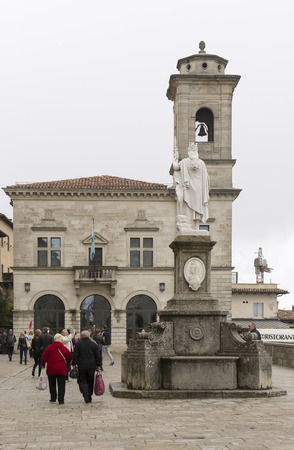 SanMarino,Italy-April 05,2014:  Tourists visiting the attractions of the country