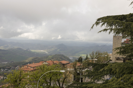 View from the mountain in San Marino. Italy