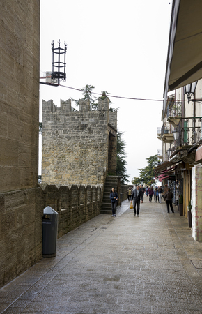 SanMarino,Italy-April 05,2014: Tourists visiting the attractions of the country  Editorial