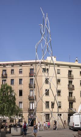 modernist: Barcelona,Spain-September 9,2014 :Tourists visiting the modernist sculpture