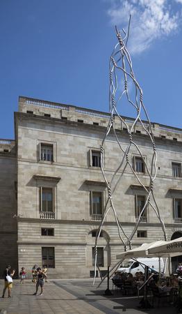modernist: Barcelona,Spain-September 9,2014 : Tourists visiting the modernist sculpture Editorial