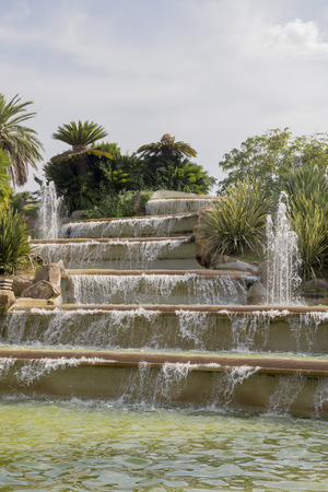 Waterfall in the park of Montjuic .Barselona