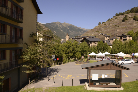 tourism in andorra: ANDORRA-SEPTEMBER 11- Road through Andorra.Tourists make purchases on the market on September 11,2014 in  Andorra
